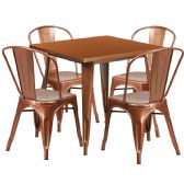 31.5'' Square Copper Metal Indoor-Outdoor Table Set with 4 Stack Chairs - Sets