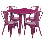 31.5'' Square Purple Metal Indoor-Outdoor Table Set with 4 Stack Chairs - Sets