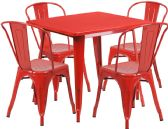 31.5'' Square Red Metal Indoor-Outdoor Table Set with 4 Stack Chairs - Sets