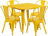 31.5'' Square Yellow Metal Indoor-Outdoor Table Set with 4 Stack Chairs - Sets
