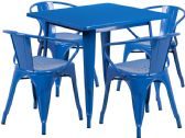 31.5'' Square Blue Metal Indoor-Outdoor Table Set with 4 Arm Chairs - Sets