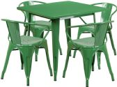 31.5'' Square Green Metal Indoor-Outdoor Table Set with 4 Arm Chairs - Sets