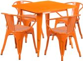 31.5'' Square Orange Metal Indoor-Outdoor Table Set with 4 Arm Chairs - Sets