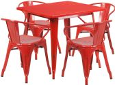 31.5'' Square Red Metal Indoor-Outdoor Table Set with 4 Arm Chairs - Sets