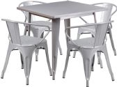 31.5'' Square Silver Metal Indoor-Outdoor Table Set with 4 Arm Chairs - Sets