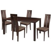 Clarke 5 Piece Espresso Wood Dining Table Set with Clean Line Wood Dining Chairs - Padded Seats - Sets