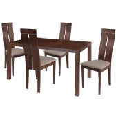 Clarke 5 Piece Walnut Wood Dining Table Set with Clean Line Wood Dining Chairs - Padded Seats - Sets