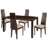 Lakeview 5 Piece Espresso Wood Dining Table Set with Padded Wood Dining Chairs - Sets