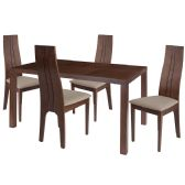 Lakeview 5 Piece Walnut Wood Dining Table Set with Padded Wood Dining Chairs - Sets