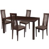 Eastcoate 5 Piece Espresso Wood Dining Table Set with Framed Rail Back Design Wood Dining Chairs - Padded Seats - Sets