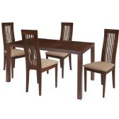 Eastcoate 5 Piece Walnut Wood Dining Table Set with Framed Rail Back Design Wood Dining Chairs - Padded Seats - Sets