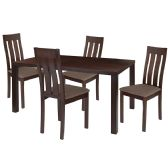 Clinton 5 Piece Espresso Wood Dining Table Set with Vertical Slat Back Wood Dining Chairs - Padded Seats - Sets