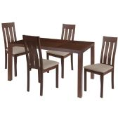 Clinton 5 Piece Walnut Wood Dining Table Set with Vertical Slat Back Wood Dining Chairs - Padded Seats - Sets