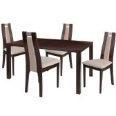 Harlesden 5 Piece Espresso Wood Dining Table Set with Curved Slat Wood Dining Chairs - Padded Seats - Sets