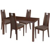 Harlesden 5 Piece Walnut Wood Dining Table Set with Curved Slat Wood Dining Chairs - Padded Seats - Sets