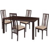 Chatham 5 Piece Espresso Wood Dining Table Set with High Triple Window Pane Back Wood Dining Chairs - Padded Seats - Sets