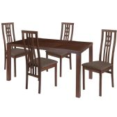 Chatham 5 Piece Walnut Wood Dining Table Set with High Triple Window Pane Back Wood Dining Chairs - Padded Seats - Sets