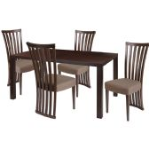 Addison 5 Piece Espresso Wood Dining Table Set with Dramatic Rail Back Design Wood Dining Chairs - Padded Seats - Sets
