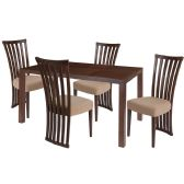 Addison 5 Piece Walnut Wood Dining Table Set with Dramatic Rail Back Design Wood Dining Chairs - Padded Seats - Sets