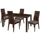 Elston 5 Piece Espresso Wood Dining Table Set with Wide Slat Back Wood Dining Chairs - Padded Seats - Sets