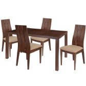 Elston 5 Piece Walnut Wood Dining Table Set with Wide Slat Back Wood Dining Chairs - Padded Seats - Sets
