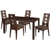 Fullerton 5 Piece Espresso Wood Dining Table Set with Window Pane Back Wood Dining Chairs - Padded Seats - Sets