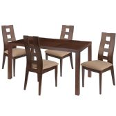Fullerton 5 Piece Walnut Wood Dining Table Set with Window Pane Back Wood Dining Chairs - Padded Seats - Sets