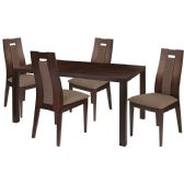 Beckham 5 Piece Espresso Wood Dining Table Set with Curved Slat Wood Dining Chairs - Padded Seats - Sets