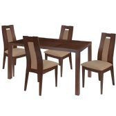 Beckham 5 Piece Walnut Wood Dining Table Set with Curved Slat Wood Dining Chairs - Padded Seats - Sets