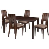 Dalston 5 Piece Espresso Wood Dining Table Set with Curved Slat Keyhole Back Wood Dining Chairs - Padded Seats - Sets