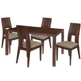 Dalston 5 Piece Walnut Wood Dining Table Set with Curved Slat Keyhole Back Wood Dining Chairs - Padded Seats - Sets