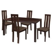 Madison 5 Piece Espresso Wood Dining Table Set with Vertical Wide Slat Back Wood Dining Chairs - Padded Seats - Sets