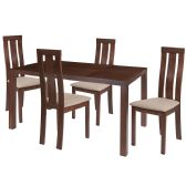 Madison 5 Piece Walnut Wood Dining Table Set with Vertical Wide Slat Back Wood Dining Chairs - Padded Seats - Sets