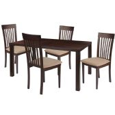 Eastchester 5 Piece Espresso Wood Dining Table Set with Rail Back Wood Dining Chairs - Padded Seats - Sets
