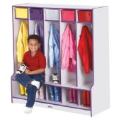 Rainbow Accents 5 Section Coat Locker with Step - Green - Lockers