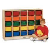 Jonti-Craft® E-Z Glide 25 Cubbie-Tray Mobile Storage - with Clear Trays - Storage