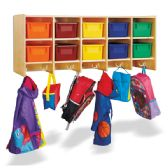Jonti-Craft 10 Section Wall Mount Coat Locker - with Colored Trays - Lockers