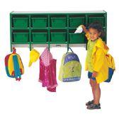 Rainbow Accents® 10 Section Wall Mount Coat Locker - with Trays - Green - Lockers