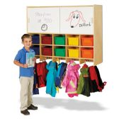 Jonti-Craft® 10 Section Wall Mount Coat Locker with Storage – with Colored Cubbie-Trays - Lockers