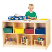 Jonti-Craft® Mobile Twin Storage Island - with Clear Trays - Art
