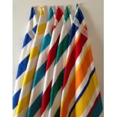 24 Units of BK Cabana Stripes-Top of the Line Beach Towel 100% Cotton Multi-Stripe Color - Beach Towels