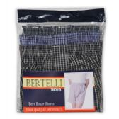 24 Units of Boys Bertelli 3 pack boxer shorts in assorted sizes and prints. In X Large - Boys Underwear