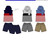 36 Units of BOYS TWILL SHORT SETS 3 COLORS SIZE 2-4 T - Boys Shorts