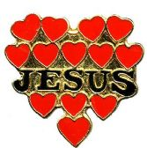 "96 Units of Brass Hat Pin, ""Jesus"" hearts - Hat Pins & Jacket Pins"