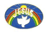 """96 Units of Brass Hat Pin, """"Jesus"""" with/ dove and rainbow - Hat Pins / Jacket Pins"""