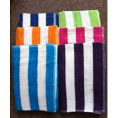 24 Units of Cabana Stripe 100% Beach Towels Assorted Colors Size 32x65 - Beach Towels