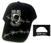 12 Units of Embroidered acrylic textured cap, black caps, POW-MIA design with barbed wire - Baseball Caps/Snap Backs
