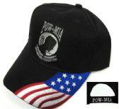 24 Units of Embroidered twill cap, black caps, POW-MIA design with US flag - Baseball Caps/Snap Backs