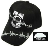24 Units of Embroidered twill cap, black caps, POW-MIA design with barbed wire - Baseball Caps/Snap Backs
