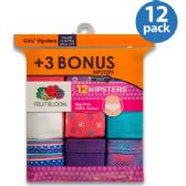 36 Units of FRUIT OF THE LOOM 12 PACK HIPSTER CUT UNDERWEAR FIRST QUALITY SIZE 12 AND 4 - Girls Underwear and Pajamas